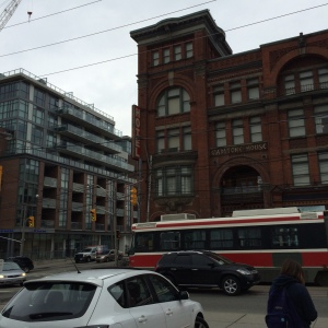 The Gladstone Hotel, the first stop of the Convenience Stories walk, as seen from the south side of Queen Street West.